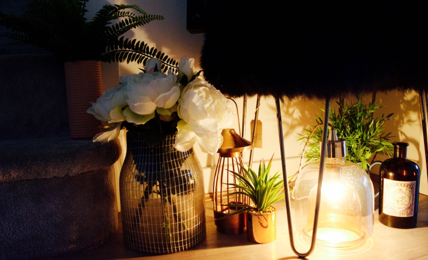 interior styling with lights and plants